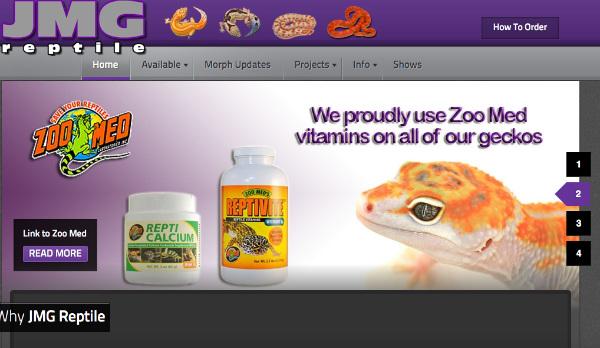 JMGreptile.com Screenshot